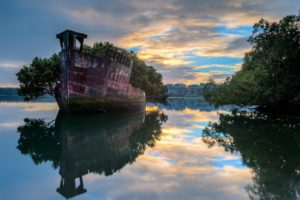Sydney, Australia, Ship, Water, Reflection, Trees, Abandoned
