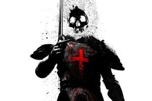 Alex Cherry, Knights, Skull, Sword, White background