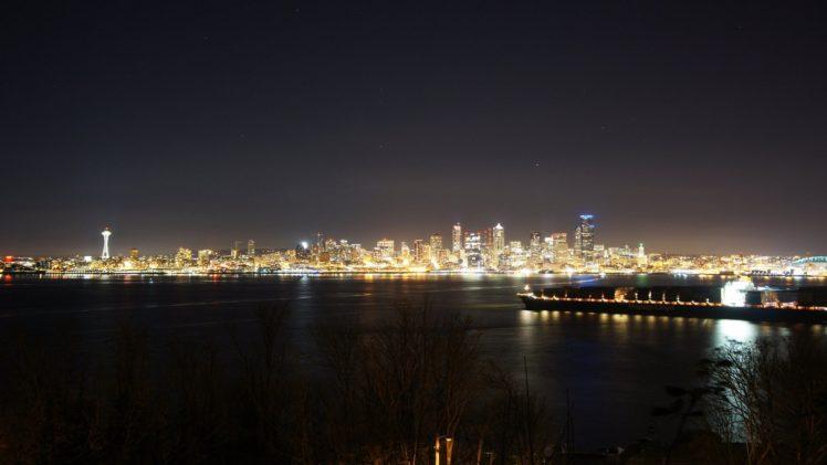 Seattle, City, Night HD Wallpaper Desktop Background