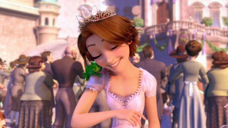Tangled Disney Princesses Rapunzel Pascal Character Happy