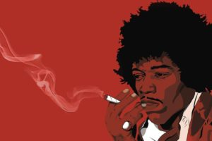 Jimi Hendrix, Musicians, Fan art, Red, Joints