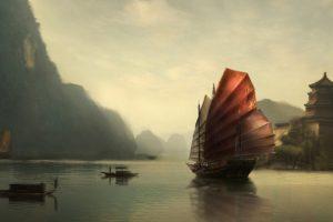 China, Sailing ship, Reflection, Mountain