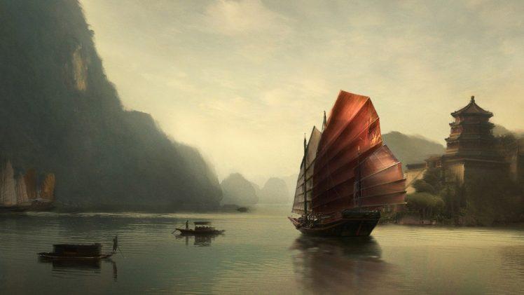 China, Sailing ship, Reflection, Mountain HD Wallpaper Desktop Background