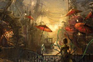 rain, Sunlight, Umbrella, Chinese