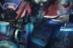 police, Cyberpunk, Futuristic