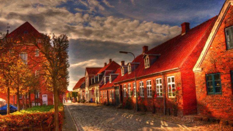 photo manipulation, Street, House, Denmark HD Wallpaper Desktop Background