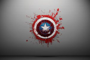 Captain America, Shields, Paint splatter, Simple background