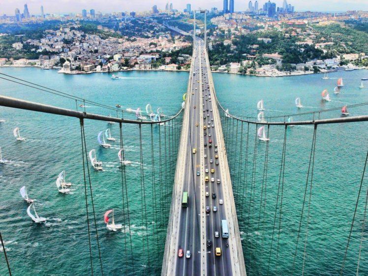 Istanbul, Bridge, Sailing ship HD Wallpaper Desktop Background
