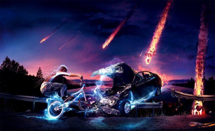 bicycle, Meteors HD Wallpaper Desktop Background