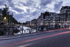 Netherlands, Amsterdam, Canal, Light trails, Road, Bicycle, House