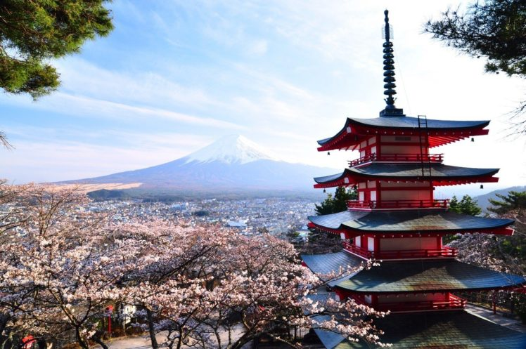 Japan Asian Architecture Mount Fuji Cherry Blossom Hd Wallpapers Desktop And Mobile Images Photos