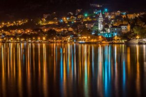 cityscape, Night, Lights, Building, Reflection, Water, Church, Trees, Montenegro, Town, Yachts