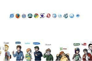 reddit, Facebook, Twitter, MySpace, Wikipedia, 4chan, DeviantArt, YouTube, Google, Internet Explorer, Mozilla Firefox, Google Chrome, Opera Browser