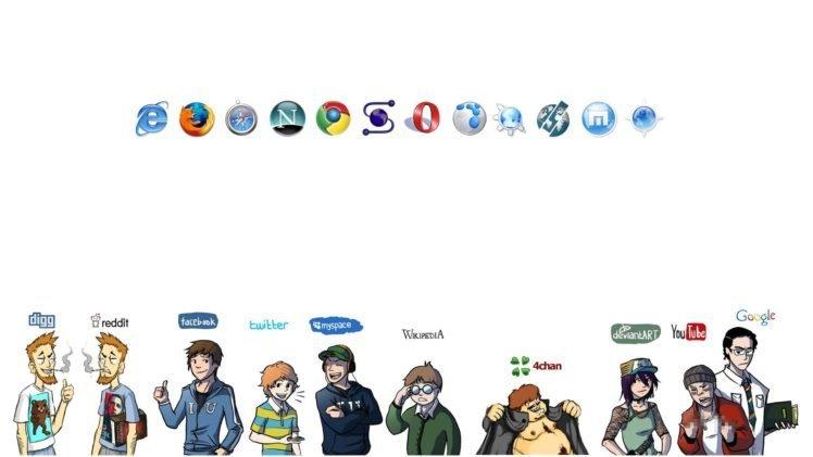 reddit, Facebook, Twitter, MySpace, Wikipedia, 4chan, DeviantArt, YouTube, Google, Internet Explorer, Mozilla Firefox, Google Chrome, Opera Browser HD Wallpaper Desktop Background
