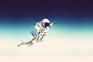 Felix Baumgartner, Falling, Red Bull, Spacesuit, Red Bull Stratos, Space, Stars