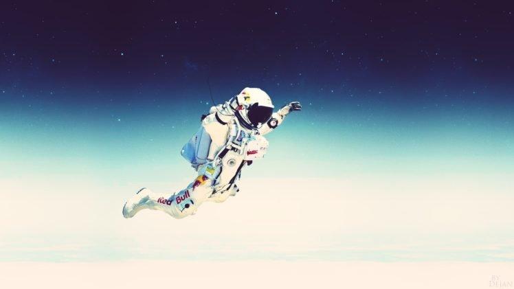Felix Baumgartner, Falling, Red Bull, Spacesuit, Red Bull Stratos, Space, Stars HD Wallpaper Desktop Background