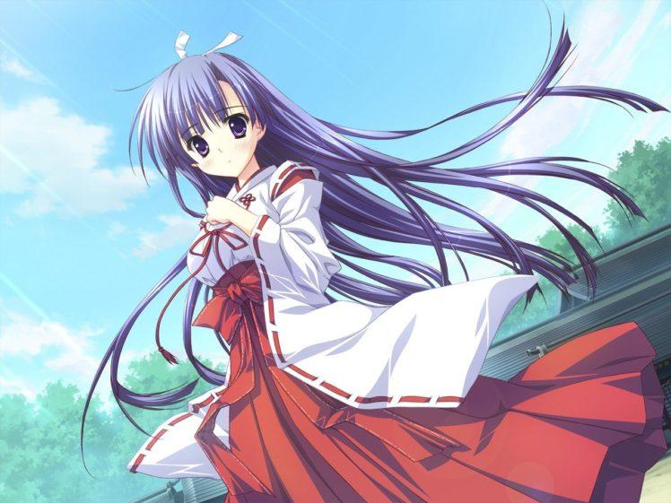 Hoshizora e Kakaru Hashi, Anime girls, Koumoto Madoka, Miko HD Wallpaper Desktop Background
