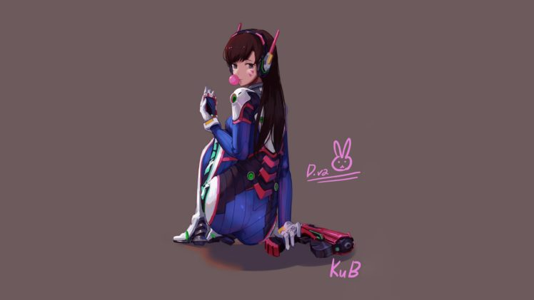 D Va Overwatch Video Games Gray Background Illustration