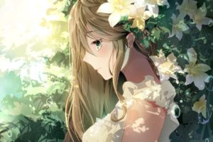 long hair, Brunette, Green eyes, Anime, Anime girls, Flowers