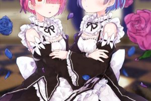 short hair, Pink hair, Red eyes, Blue hair, Blue eyes, Anime, Anime girls, Re: Zero Kara Hajimeru Isekai Seikatsu, Rem (Re: Zero), Ram (Re:Zero), Maid, Flowers