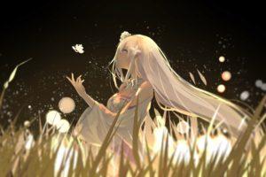 white hair, Cleavage, Emilia (Re: Zero), Re: Zero Kara Hajimeru Isekai Seikatsu, Grass