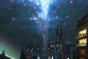anime, Night, Sky, City, Stars