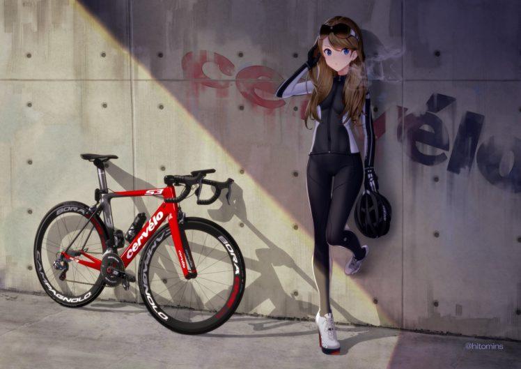 brunette, Long hair, Blue eyes, Anime, Anime girls, Bicycle, Glasses, Bodysuit HD Wallpaper Desktop Background