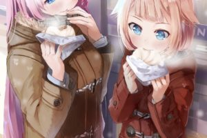 long hair, Pink hair, Brunette, Blue eyes, Anime, Anime girls, Vocaloid, Megurine Luka, Food, Kagamine Rin