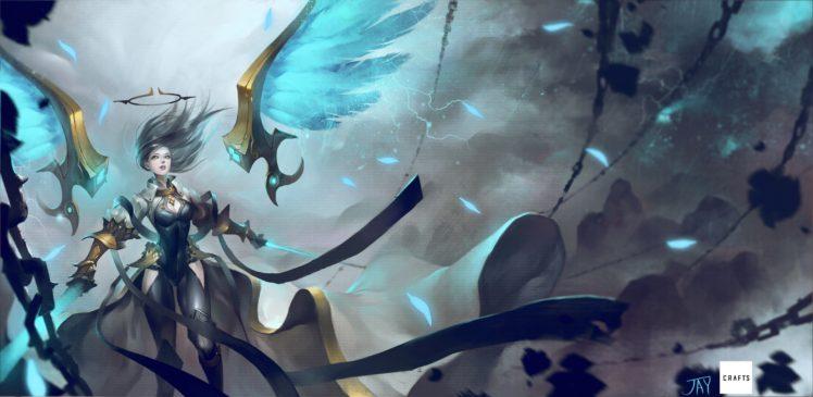 long hair, Anime, Anime girls, Wings, Armor, Sword, Weapon, Gray hair, Yellow eyes, Open shirt HD Wallpaper Desktop Background