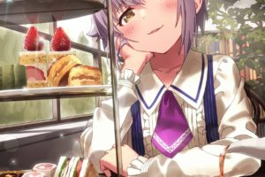 short hair, Anime, Anime girls, THE iDOLM@STER: Cinderella Girls, THE iDOLM@STER, Koshimizu Sachiko, Food, Candies