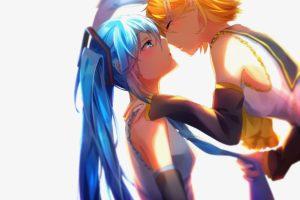 long hair, Short hair, Blue hair, Blue eyes, Yellow hair, Anime, Anime girls, Vocaloid, Hatsune Miku, Kagamine Rin, Kissing, Twintails, Yuri