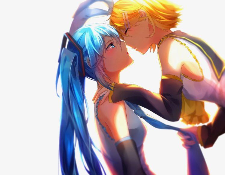 long hair, Short hair, Blue hair, Blue eyes, Yellow hair, Anime, Anime girls, Vocaloid, Hatsune Miku, Kagamine Rin, Kissing, Twintails, Yuri HD Wallpaper Desktop Background
