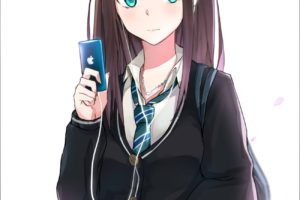 long hair, Brunette, Anime, Anime girls, THE iDOLM@STER: Cinderella Girls, THE iDOLM@STER, Shibuya Rin, Sweater, Aqua eyes, Smartphone, Headphones