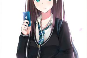 long hair, Brunette, Anime, Anime girls, THE iDOLM@STER: Cinderella Girls, THE iDOLM@STER, Shibuya Rin, Sweater, Aqua eyes, Smartphone, Headphones