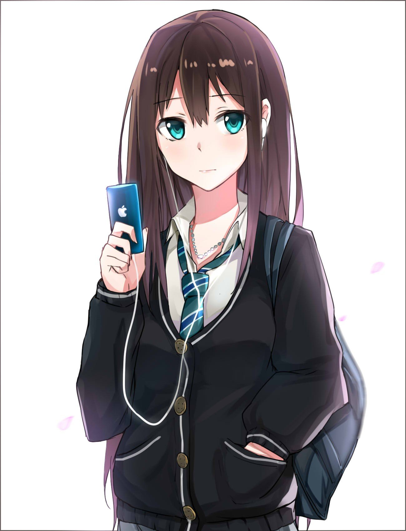 Long Hair Brunette Anime Anime Girls The Idolm Ster Cinderella Girls The Idolm Ster Shibuya Rin Sweater Aqua Eyes Smartphone Headphones Hd Wallpapers Desktop And Mobile Images Photos