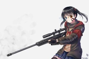 short hair, Anime, Anime girls, Twintails, Black hair, Weapon, Gun, Sniper rifle, Skirt, Stockings