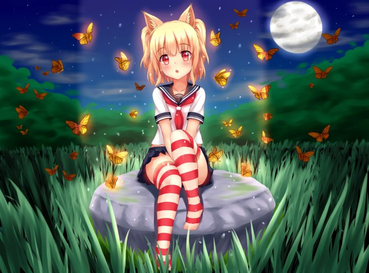 short hair, Blonde, Cat girl, Anime, Anime girls, School uniform, Skirt, Stockings, Animal ears, Grass, Night, Moon, Butterfly, Thigh highs HD Wallpaper Desktop Background