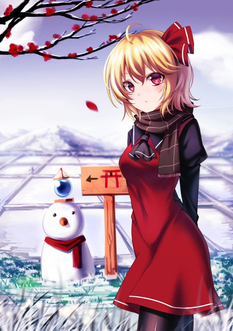 short hair, Blonde, Red eyes, Anime, Anime girls, Inter, Touhou, Rumia HD Wallpaper Desktop Background