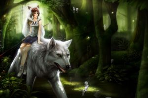 brunette, Short hair, Anime, Anime girls, Forest, Wolf, Princess Mononoke