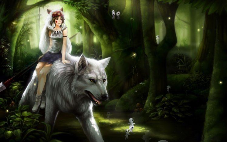 brunette, Short hair, Anime, Anime girls, Forest, Wolf, Princess Mononoke HD Wallpaper Desktop Background