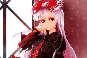 long hair, Pink hair, Red eyes, Anime, Anime girls, Touhou, Fujiwara no Mokou