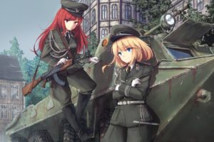 long hair, Short hair, Redhead, Pink eyes, Blonde, Blue eyes, Anime, Anime girls, BTR 70, Uniform, AK 47, Weapon, Gun