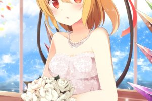 short hair, Blonde, Red eyes, Anime, Anime girls, Touhou, Flandre Scarlet, Wedding dress, Flowers