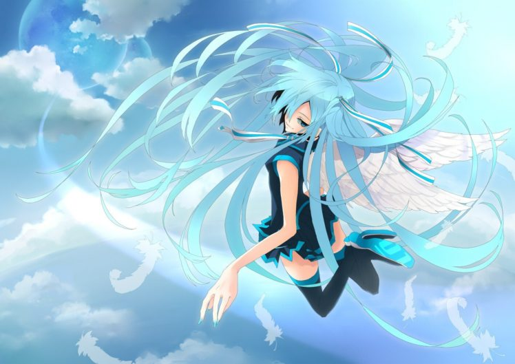 blue hair, Long hair, Blue eyes, Anime, Anime girls, Hatsune Miku, Vocaloid, Smiling, Wings HD Wallpaper Desktop Background