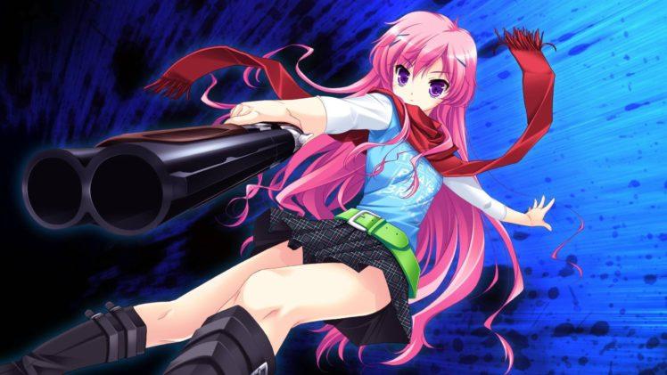 pink hair, Long hair, Purple eyes, Anime, Anime girls, Hair ornament, Scarf HD Wallpaper Desktop Background