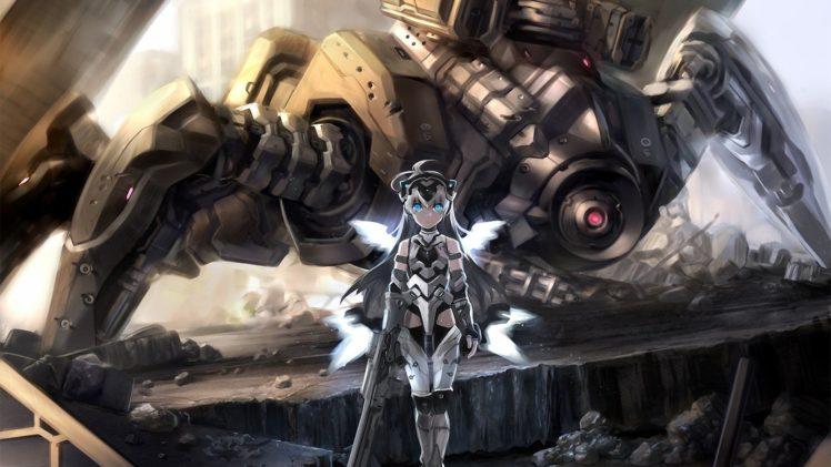 white hair, Blue eyes, Long hair, Anime, Anime girls, Futuristic, Robot HD Wallpaper Desktop Background