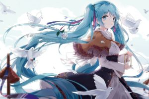 long hair, Blue hair, Blue eyes, Anime, Anime girls, Hatsune Miku, Vocaloid, Twintails, Birds