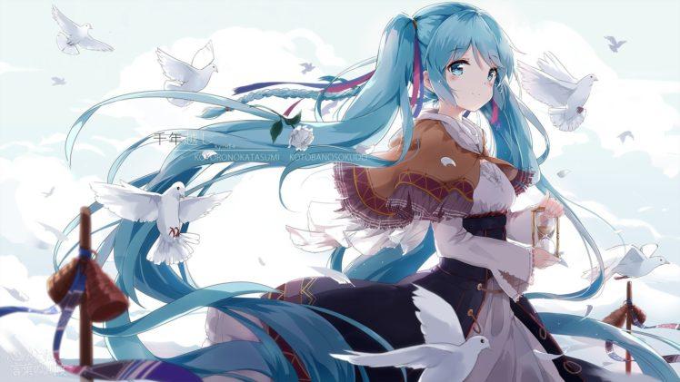 long hair, Blue hair, Blue eyes, Anime, Anime girls, Hatsune Miku, Vocaloid, Twintails, Birds HD Wallpaper Desktop Background