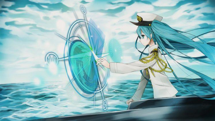 long hair, Anime, Anime girls, Hatsune Miku, Vocaloid, Aqua hair, Aqua eyes, Clouds, Hat, Twintails, Uniform, Water HD Wallpaper Desktop Background