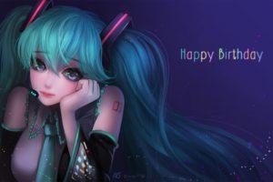 long hair, Anime, Anime girls, Vocaloid, Hatsune Miku, Aqua eyes, Aqua hair, Twintails, Headphones